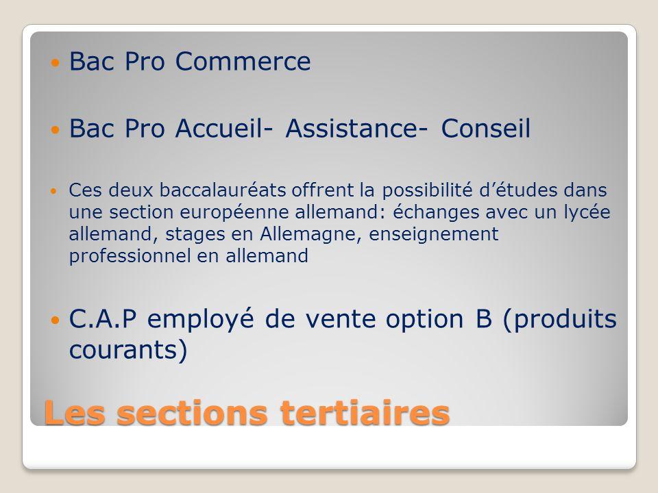 Les sections tertiaires Bac Pro Commerce Bac Pro Accueil- Assistance- Conseil Ces deux baccalauréats offrent la possibilité d'études dans une section