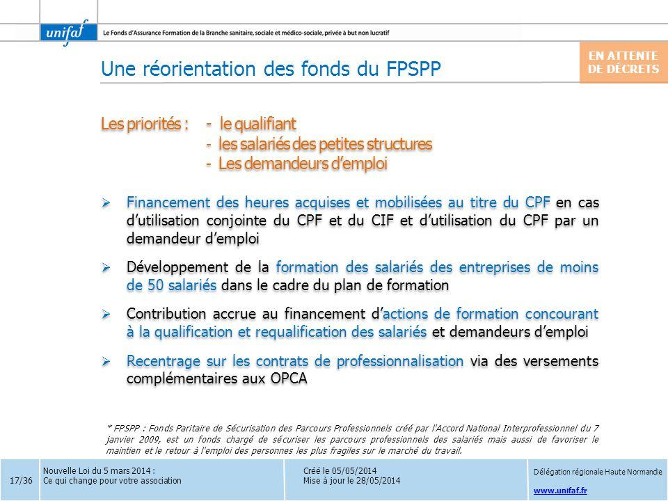 www.unifaf.fr Créé le 05/05/2014 Mise à jour le 28/05/2014 Les priorités :- le qualifiant - les salariés des petites structures - Les demandeurs d'emp