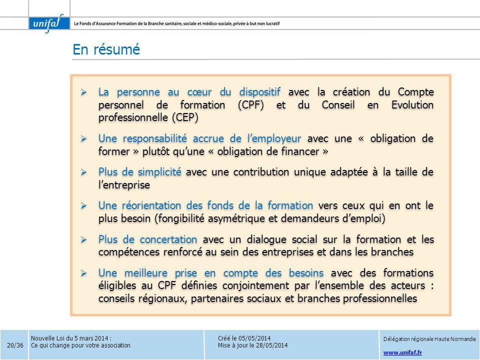 www.unifaf.fr Créé le 05/05/2014 Mise à jour le 28/05/2014  La personne au cœur du dispositif avec la création du Compte personnel de formation (CPF)