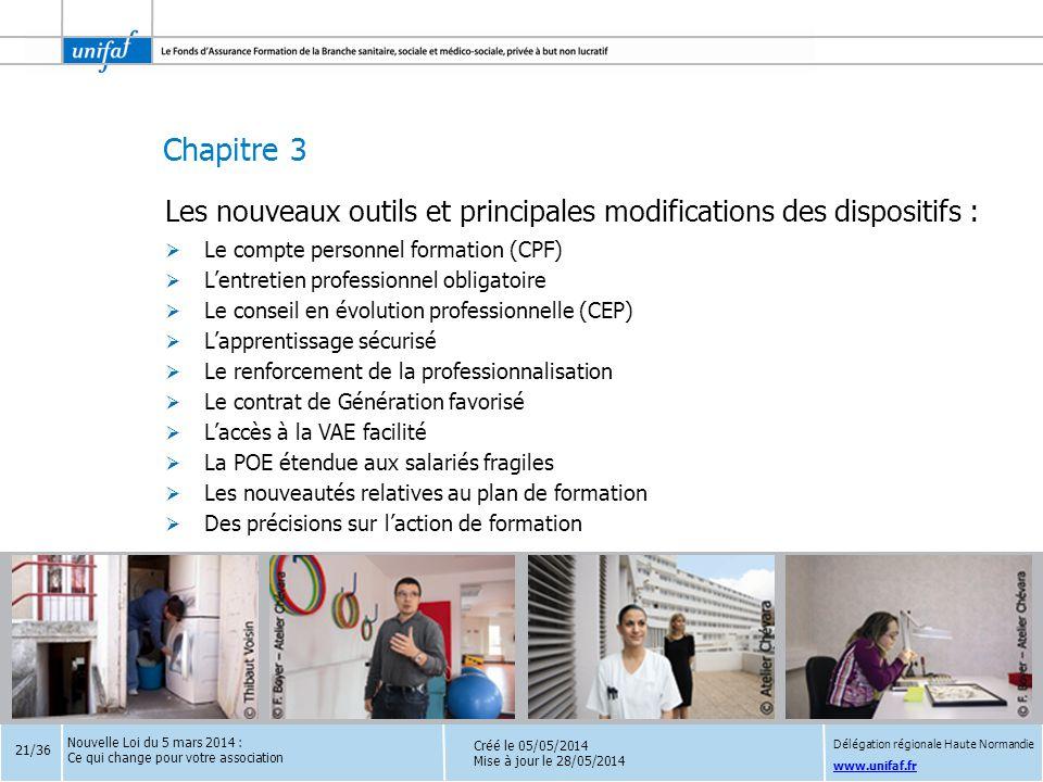 Chapitre 3 www.unifaf.fr Les nouveaux outils et principales modifications des dispositifs :  Le compte personnel formation (CPF)  L'entretien profes