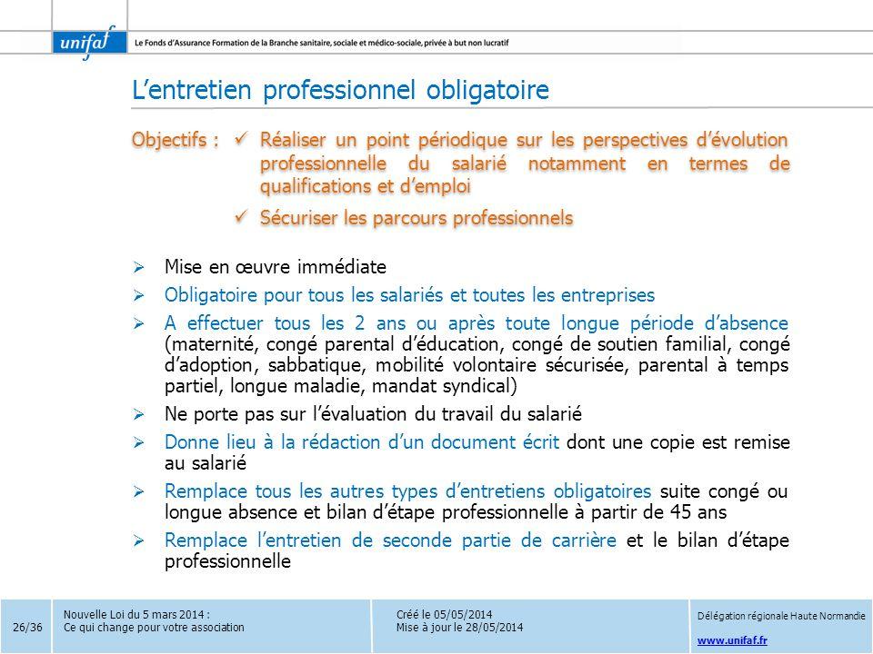 www.unifaf.fr  Mise en œuvre immédiate  Obligatoire pour tous les salariés et toutes les entreprises  A effectuer tous les 2 ans ou après toute lon