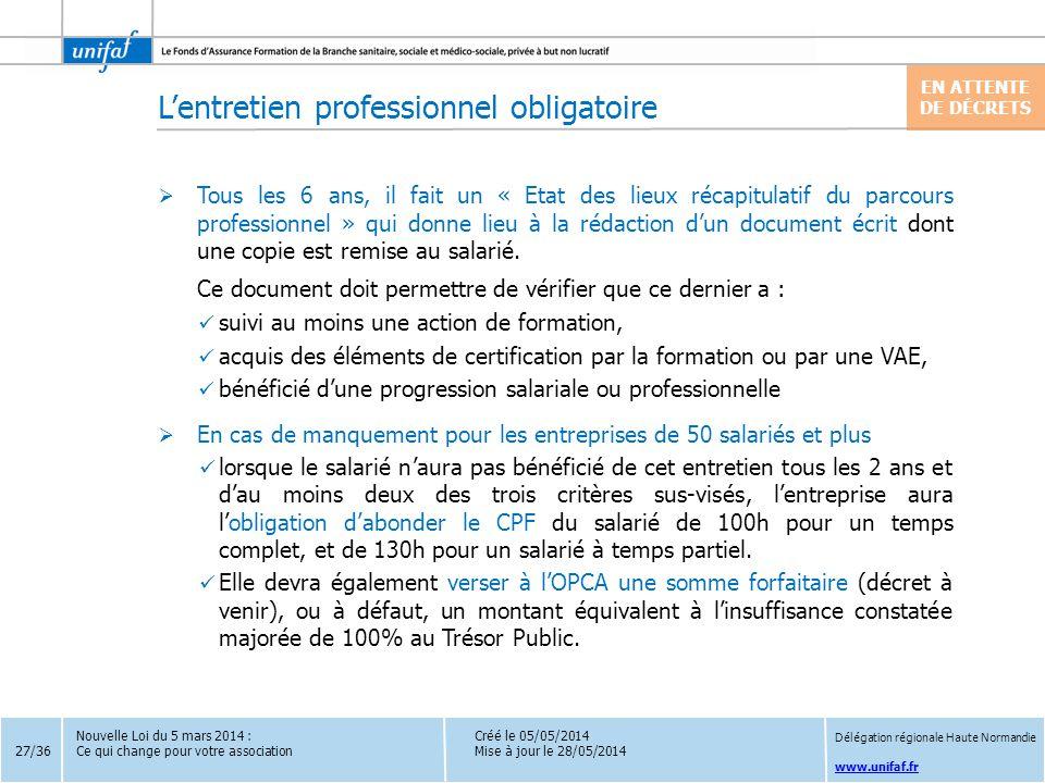 www.unifaf.fr  Tous les 6 ans, il fait un « Etat des lieux récapitulatif du parcours professionnel » qui donne lieu à la rédaction d'un document écri