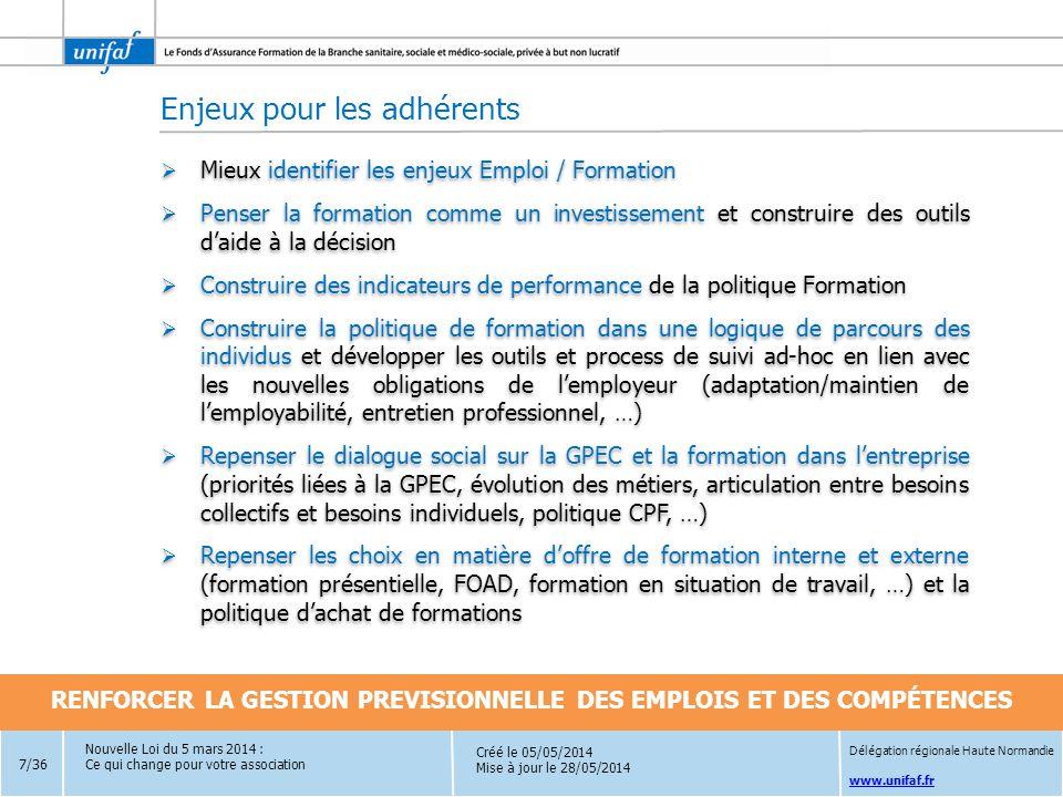 www.unifaf.fr Créé le 05/05/2014 Mise à jour le 28/05/2014 La loi finalise la décentralisation en donnant aux régions un rôle central dans les domaines de l'économie et de l'emploi sur les territoires avec une coordination de l'ensemble des acteurs et l'attribution de nouvelles compétences :  L'élaboration et le pilotage des contrats de développement de l'apprentissage  La responsabilité du nouveau service public régional d'orientation notamment à travers le conseil en évolution professionnelle (CEP) délivré par 5 opérateurs désignés par la loi : les Opacif/Fongecif, Pôle Emploi, les missions locales, les Cap emploi et l'Apec  L'accompagnement des candidats à la VAE  La formation des publics spécifiques (demandeurs d'emploi handicapés, détenus, français de l'étranger)  Les formations relatives au socle de connaissances et de compétences pour les demandeurs d'emploi  Le financement de la rémunération des demandeurs d'emploi non indemnisés stagiaires de la formation professionnelle La loi finalise la décentralisation en donnant aux régions un rôle central dans les domaines de l'économie et de l'emploi sur les territoires avec une coordination de l'ensemble des acteurs et l'attribution de nouvelles compétences :  L'élaboration et le pilotage des contrats de développement de l'apprentissage  La responsabilité du nouveau service public régional d'orientation notamment à travers le conseil en évolution professionnelle (CEP) délivré par 5 opérateurs désignés par la loi : les Opacif/Fongecif, Pôle Emploi, les missions locales, les Cap emploi et l'Apec  L'accompagnement des candidats à la VAE  La formation des publics spécifiques (demandeurs d'emploi handicapés, détenus, français de l'étranger)  Les formations relatives au socle de connaissances et de compétences pour les demandeurs d'emploi  Le financement de la rémunération des demandeurs d'emploi non indemnisés stagiaires de la formation professionnelle Nouvelle Loi du 5 mars 2014 : Ce qui change pour votre association Dé