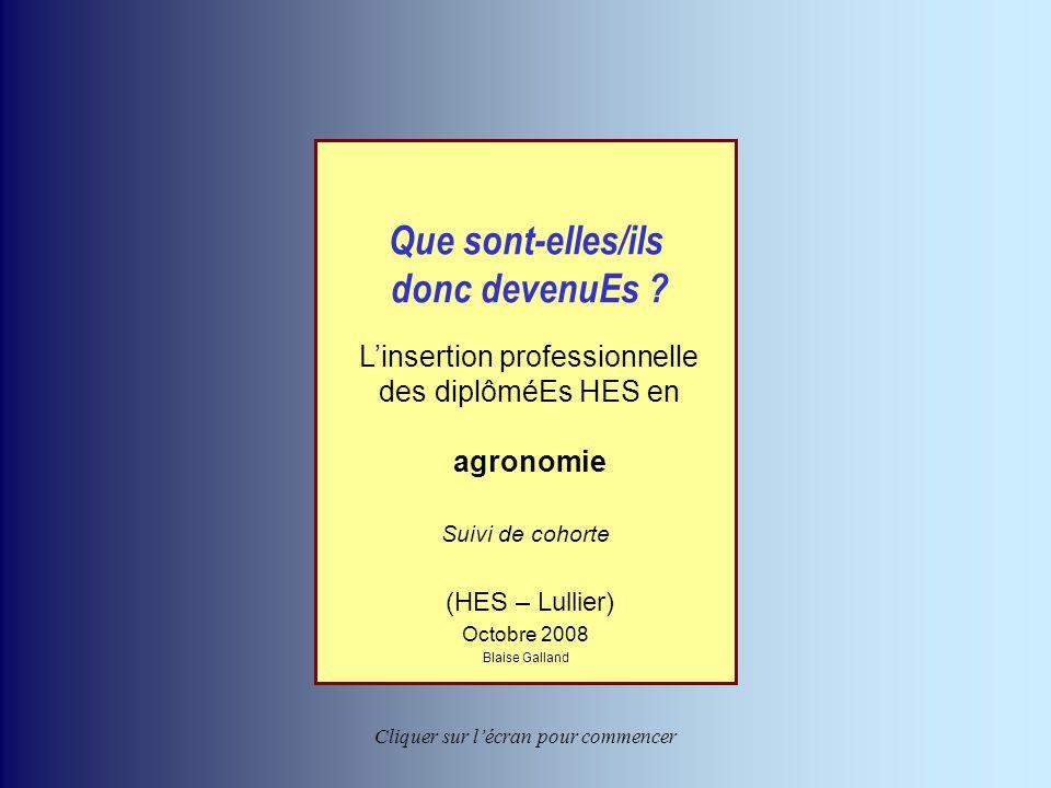 L'insertion professionnelle des ingénieurs en agronomie de l'EIL Blaise Galland – octobre 2008 Retour au sommaire Que sont-elles/ils donc devenuEs ? L