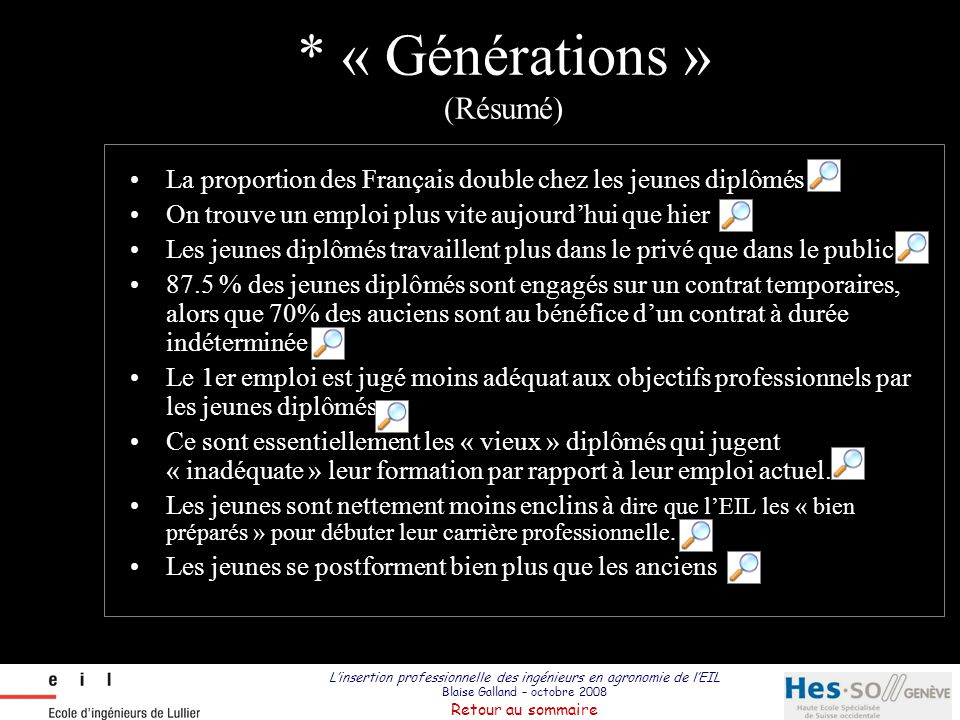 L'insertion professionnelle des ingénieurs en agronomie de l'EIL Blaise Galland – octobre 2008 Retour au sommaire La proportion des Français double ch