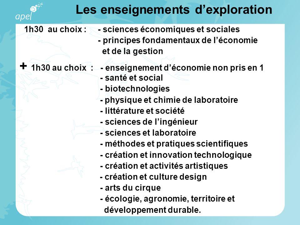 1h30 au choix : - sciences économiques et sociales - principes fondamentaux de l'économie et de la gestion + 1h30 au choix : - enseignement d'économie