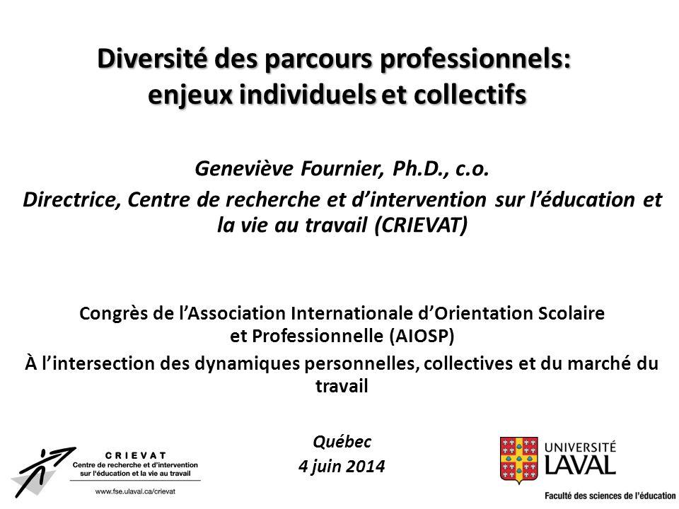 Diversité des parcours professionnels: enjeux individuels et collectifs Geneviève Fournier, Ph.D., c.o. Directrice, Centre de recherche et d'intervent