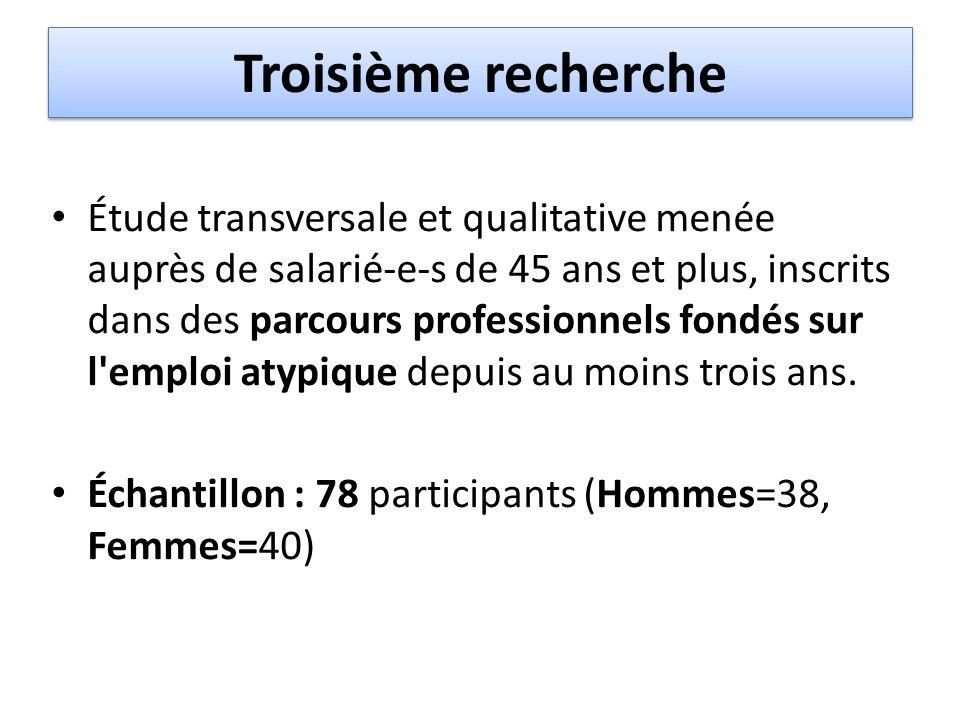 Troisième recherche Étude transversale et qualitative menée auprès de salarié-e-s de 45 ans et plus, inscrits dans des parcours professionnels fondés