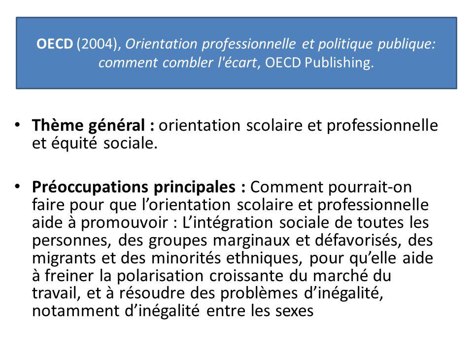 Thème général : orientation scolaire et professionnelle et équité sociale. Préoccupations principales : Comment pourrait-on faire pour que l'orientati