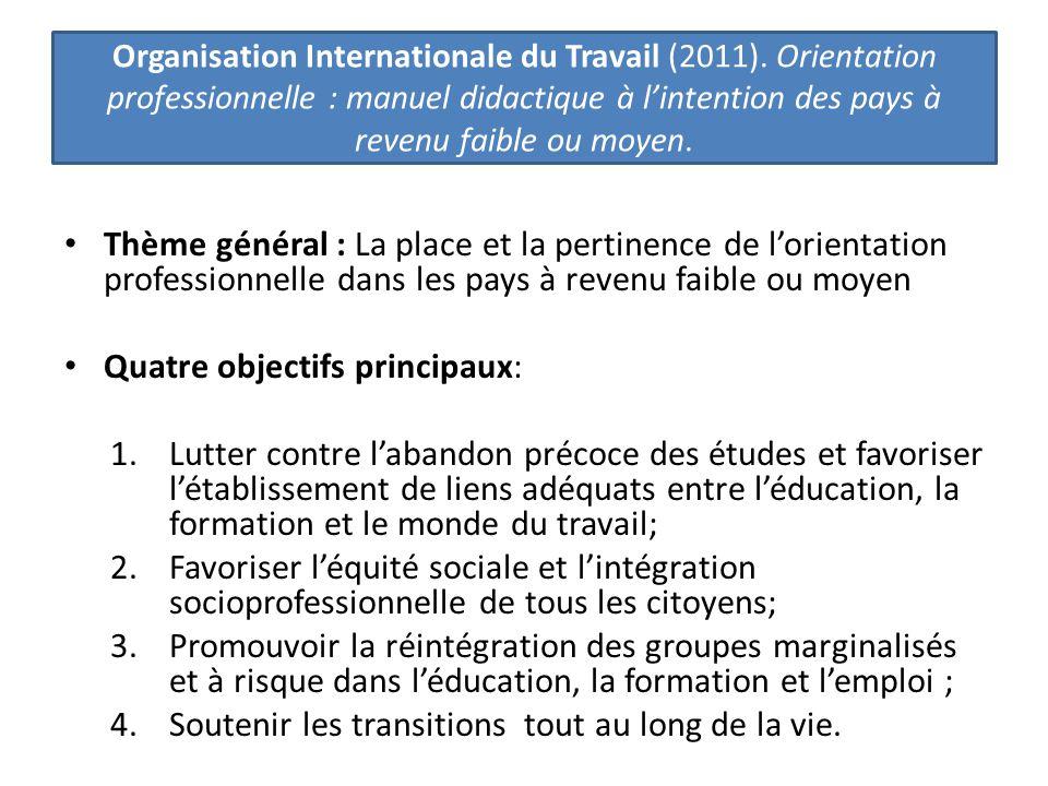 Thème général : La place et la pertinence de l'orientation professionnelle dans les pays à revenu faible ou moyen Quatre objectifs principaux: 1.Lutte