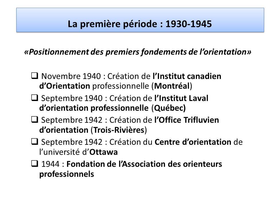 La première période : 1930-1945 «Positionnement des premiers fondements de l'orientation»  Novembre 1940 : Création de l'Institut canadien d'Orientat