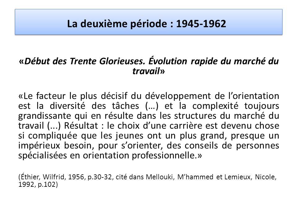 La deuxième période : 1945-1962 «Début des Trente Glorieuses. Évolution rapide du marché du travail» «Le facteur le plus décisif du développement de l