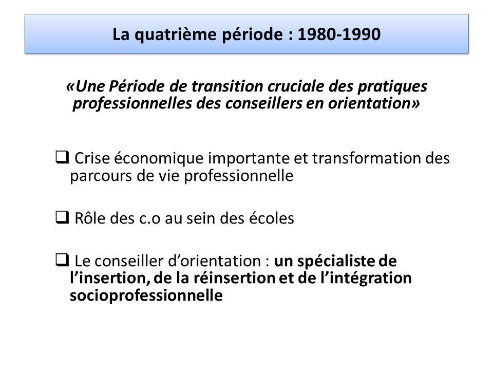 La quatrième période : 1980-1990 «Une Période de transition cruciale des pratiques professionnelles des conseillers en orientation»  Crise économique