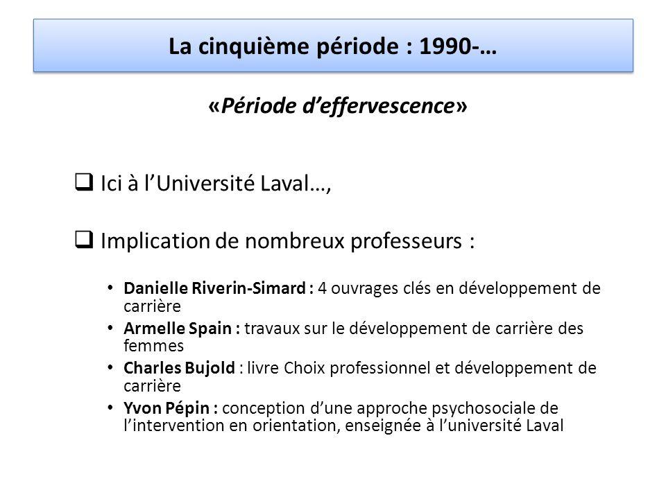 La cinquième période : 1990-… «Période d'effervescence»  Ici à l'Université Laval…,  Implication de nombreux professeurs : Danielle Riverin-Simard :