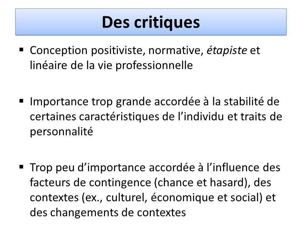 Des critiques  Conception positiviste, normative, étapiste et linéaire de la vie professionnelle  Importance trop grande accordée à la stabilité de