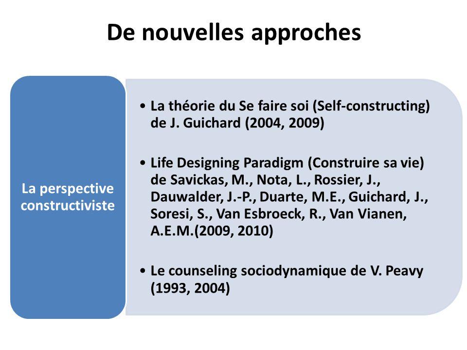 De nouvelles approches La théorie du Se faire soi (Self-constructing) de J. Guichard (2004, 2009) Life Designing Paradigm (Construire sa vie) de Savic