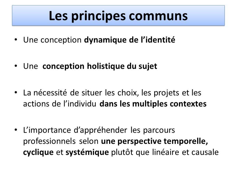 Les principes communs Une conception dynamique de l'identité Une conception holistique du sujet La nécessité de situer les choix, les projets et les a