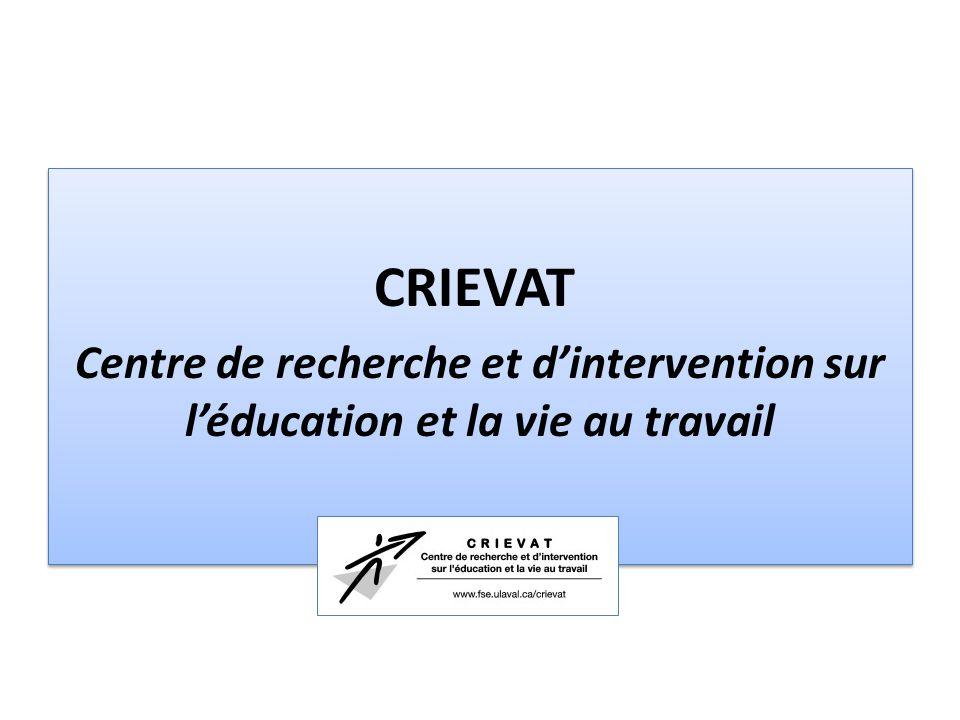 CRIEVAT Centre de recherche et d'intervention sur l'éducation et la vie au travail CRIEVAT Centre de recherche et d'intervention sur l'éducation et la