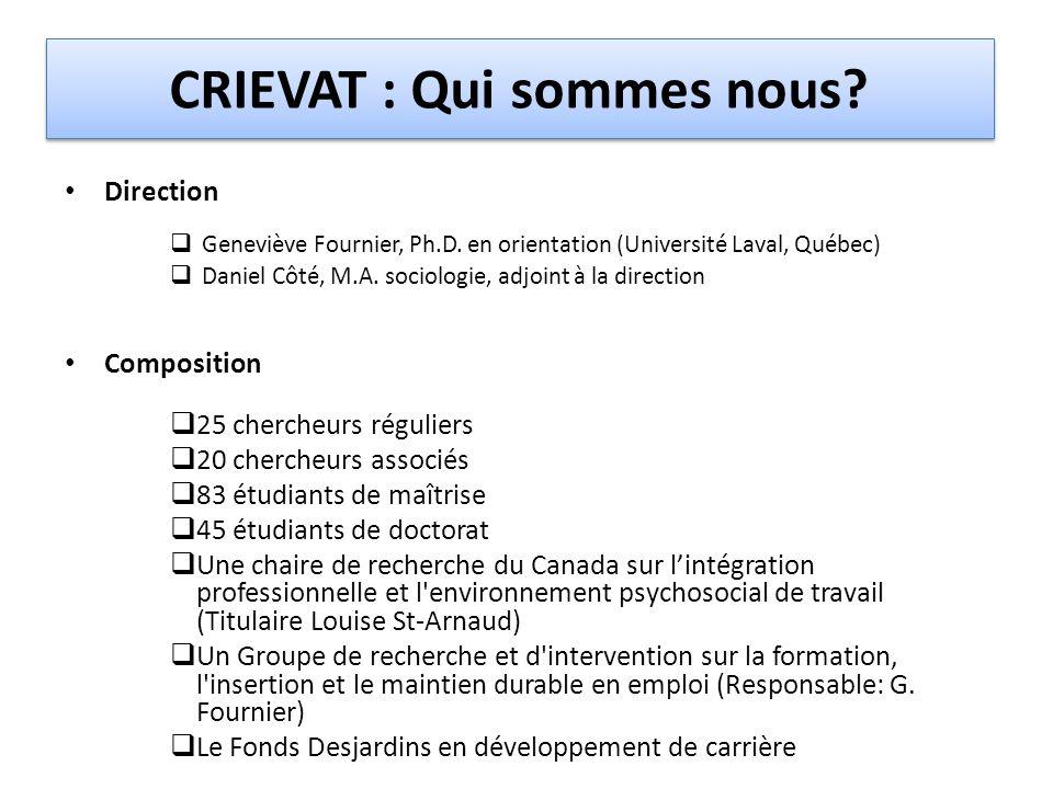 CRIEVAT : Qui sommes nous? Direction  Geneviève Fournier, Ph.D. en orientation (Université Laval, Québec)  Daniel Côté, M.A. sociologie, adjoint à l