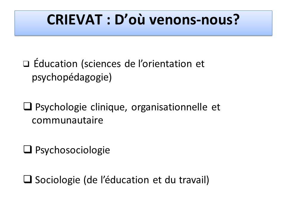 CRIEVAT : D'où venons-nous?  Éducation (sciences de l'orientation et psychopédagogie)  Psychologie clinique, organisationnelle et communautaire  Ps
