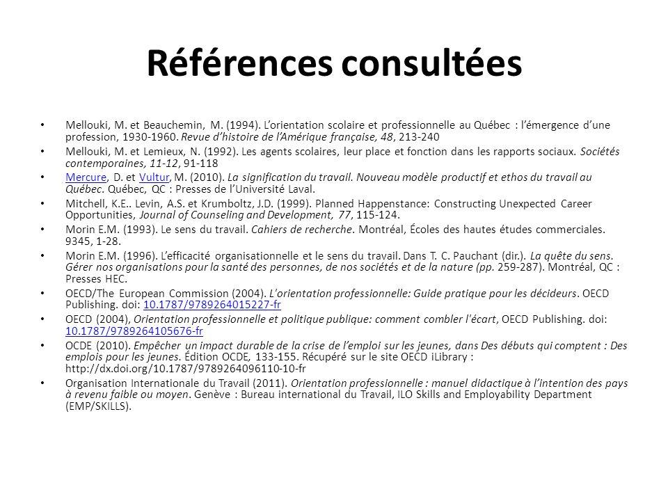 Références consultées Mellouki, M. et Beauchemin, M. (1994). L'orientation scolaire et professionnelle au Québec : l'émergence d'une profession, 1930-