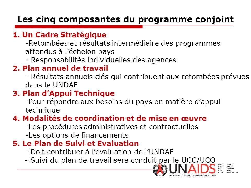 Les cinq composantes du programme conjoint 1.Un Cadre Stratégique -Retombées et résultats intermédiaire des programmes attendus à l'échelon pays - Res