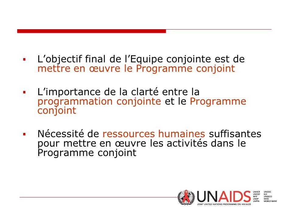  L'objectif final de l'Equipe conjointe est de mettre en œuvre le Programme conjoint  L'importance de la clarté entre la programmation conjointe et