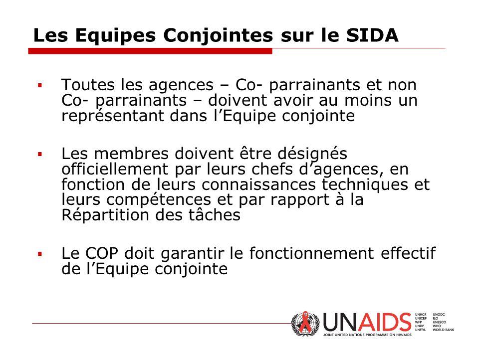Les Equipes Conjointes sur le SIDA  Toutes les agences – Co- parrainants et non Co- parrainants – doivent avoir au moins un représentant dans l'Equip