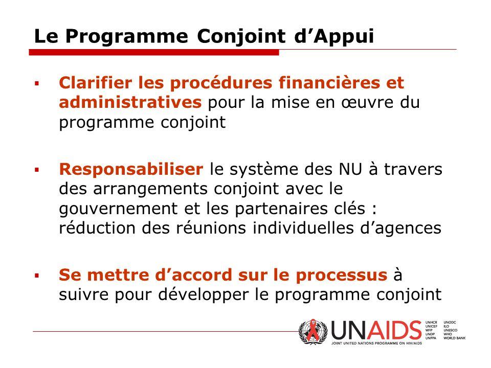 Le Programme Conjoint d'Appui  Clarifier les procédures financières et administratives pour la mise en œuvre du programme conjoint  Responsabiliser