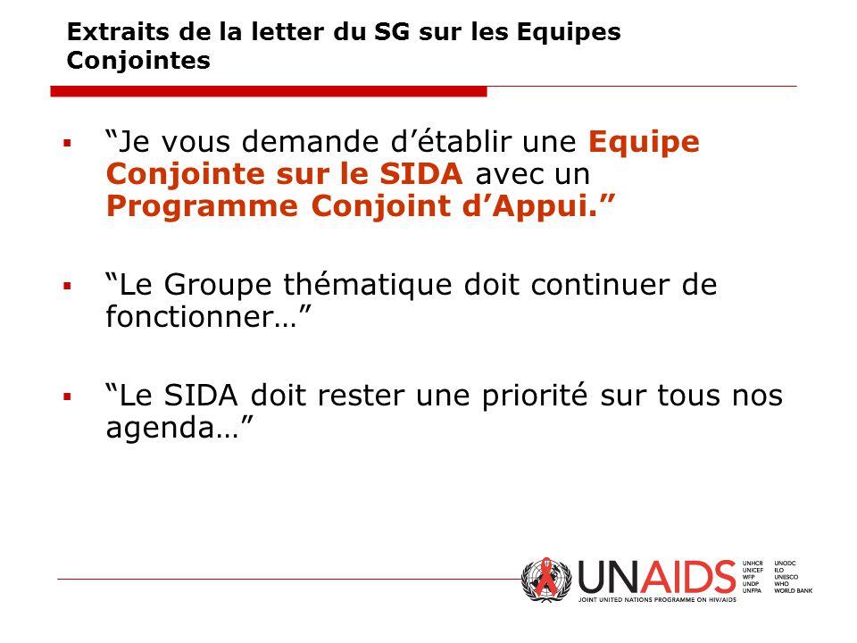 """Extraits de la letter du SG sur les Equipes Conjointes  """"Je vous demande d'établir une Equipe Conjointe sur le SIDA avec un Programme Conjoint d'Appu"""