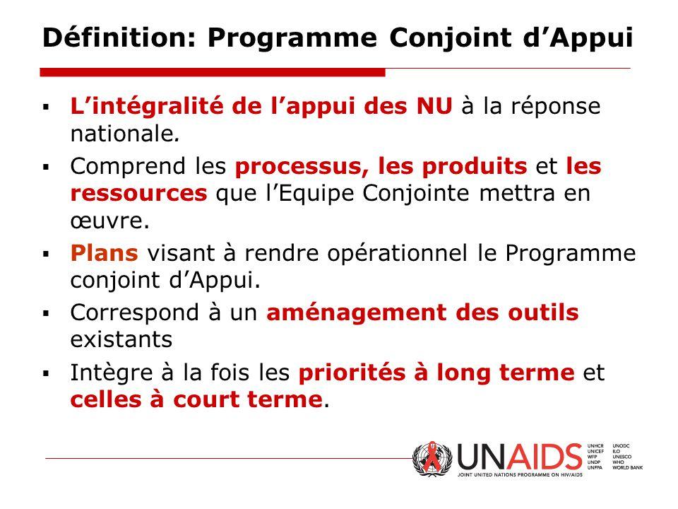 Définition: Programme Conjoint d'Appui  L'intégralité de l'appui des NU à la réponse nationale.  Comprend les processus, les produits et les ressour