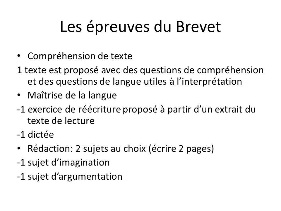Les épreuves du Brevet Compréhension de texte 1 texte est proposé avec des questions de compréhension et des questions de langue utiles à l'interpréta