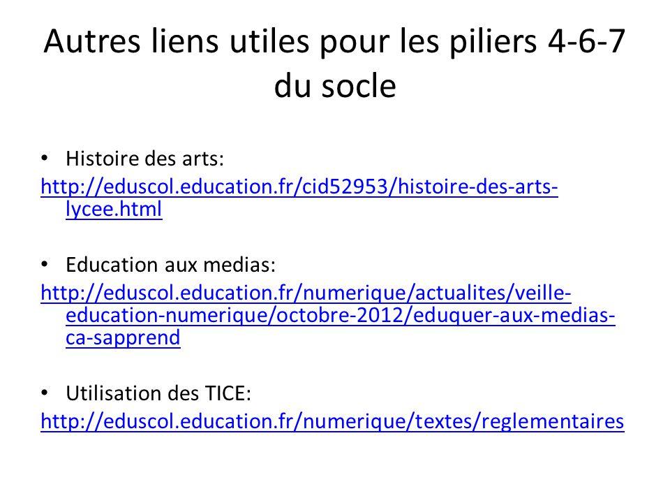 Autres liens utiles pour les piliers 4-6-7 du socle Histoire des arts: http://eduscol.education.fr/cid52953/histoire-des-arts- lycee.html Education au