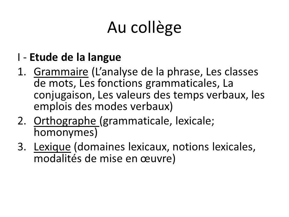 Au collège I - Etude de la langue 1.Grammaire (L'analyse de la phrase, Les classes de mots, Les fonctions grammaticales, La conjugaison, Les valeurs d