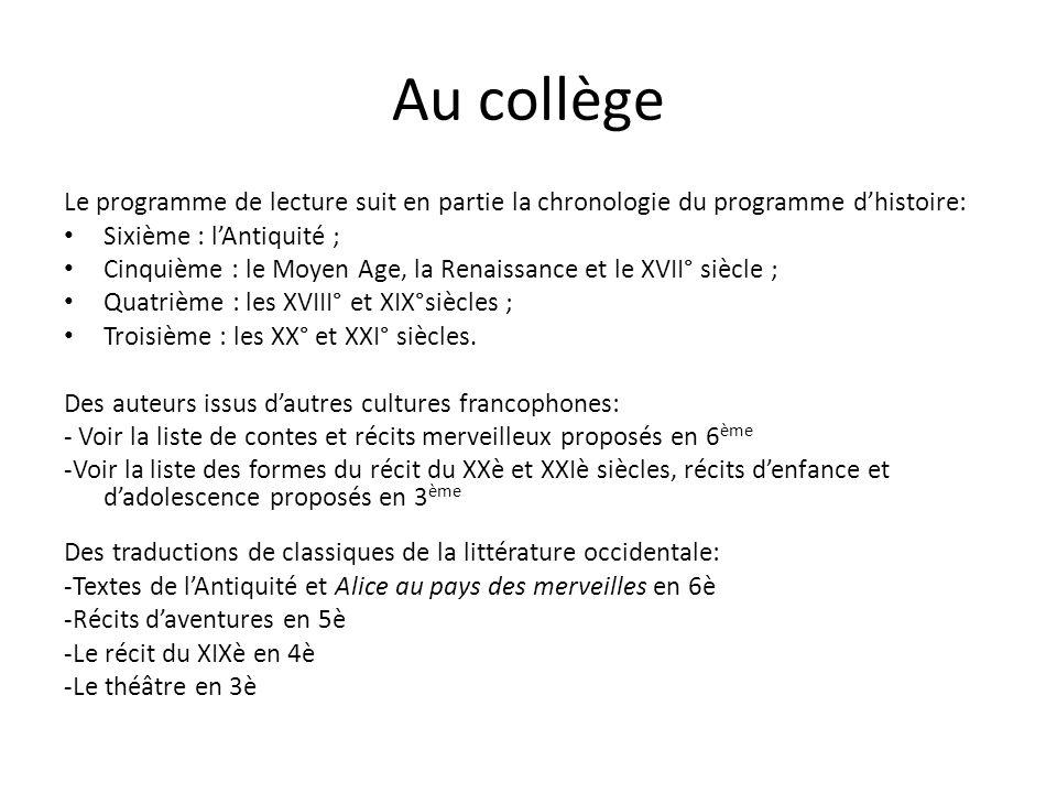 Au collège Le programme de lecture suit en partie la chronologie du programme d'histoire: Sixième : l'Antiquité ; Cinquième : le Moyen Age, la Renaiss