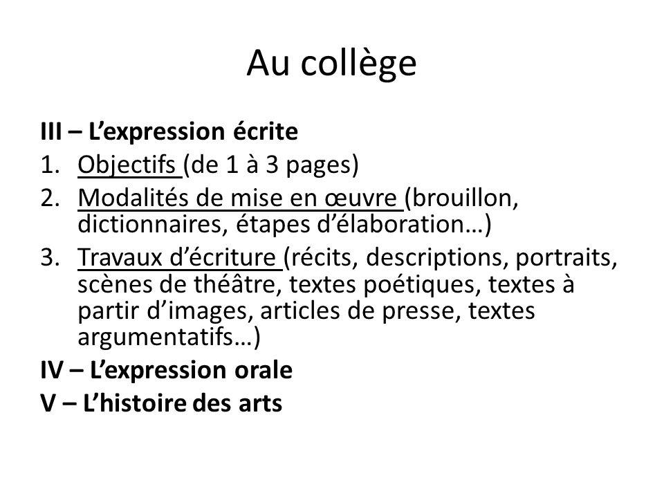 Au collège III – L'expression écrite 1.Objectifs (de 1 à 3 pages) 2.Modalités de mise en œuvre (brouillon, dictionnaires, étapes d'élaboration…) 3.Tra