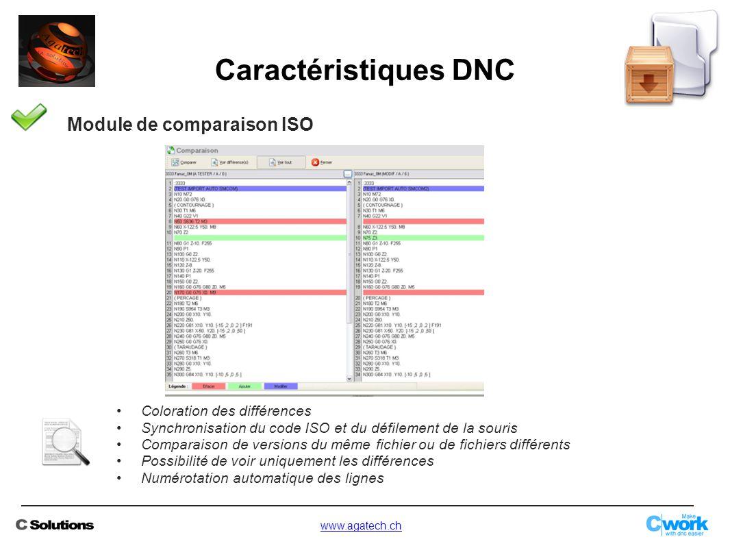 Module de comparaison ISO Coloration des différences Synchronisation du code ISO et du défilement de la souris Comparaison de versions du même fichier