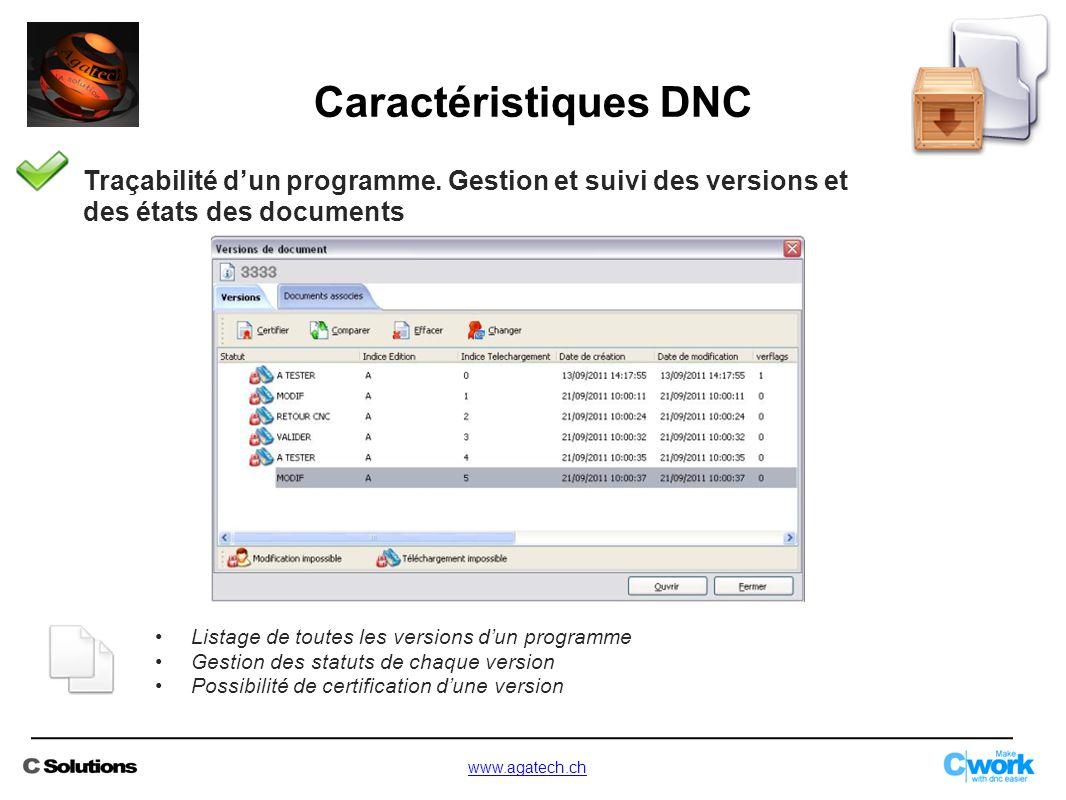 Traçabilité d'un programme. Gestion et suivi des versions et des états des documents Listage de toutes les versions d'un programme Gestion des statuts
