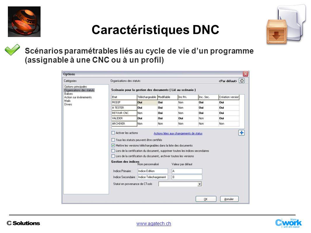 Scénarios paramétrables liés au cycle de vie d'un programme (assignable à une CNC ou à un profil) Caractéristiques DNC www.agatech.ch