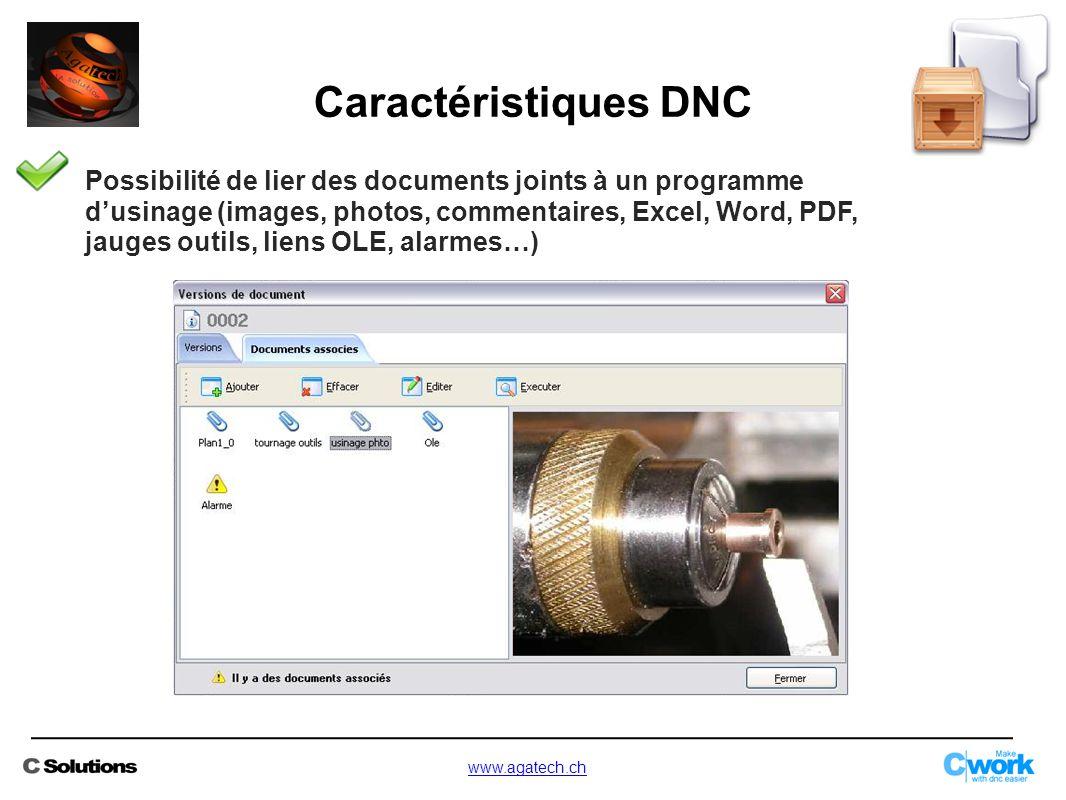 Possibilité de lier des documents joints à un programme d'usinage (images, photos, commentaires, Excel, Word, PDF, jauges outils, liens OLE, alarmes…)