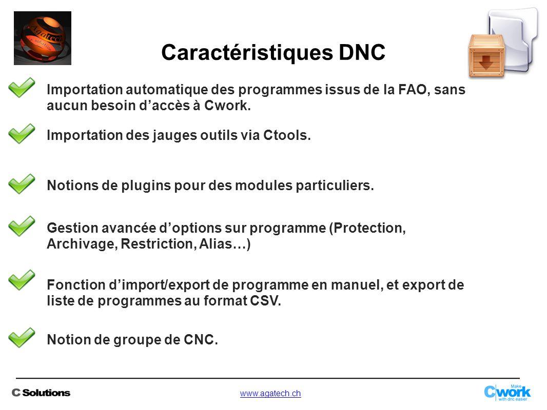 Importation automatique des programmes issus de la FAO, sans aucun besoin d'accès à Cwork. Importation des jauges outils via Ctools. Notions de plugin
