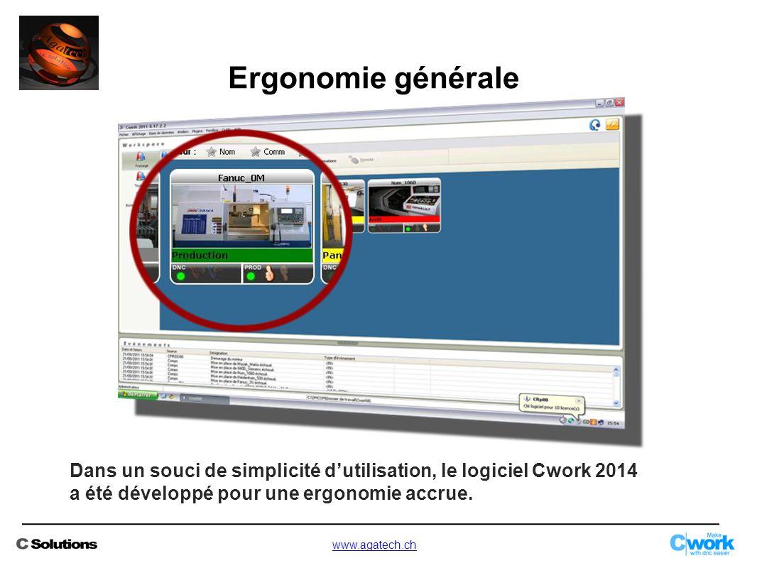 Ergonomie générale Dans un souci de simplicité d'utilisation, le logiciel Cwork 2014 a été développé pour une ergonomie accrue.