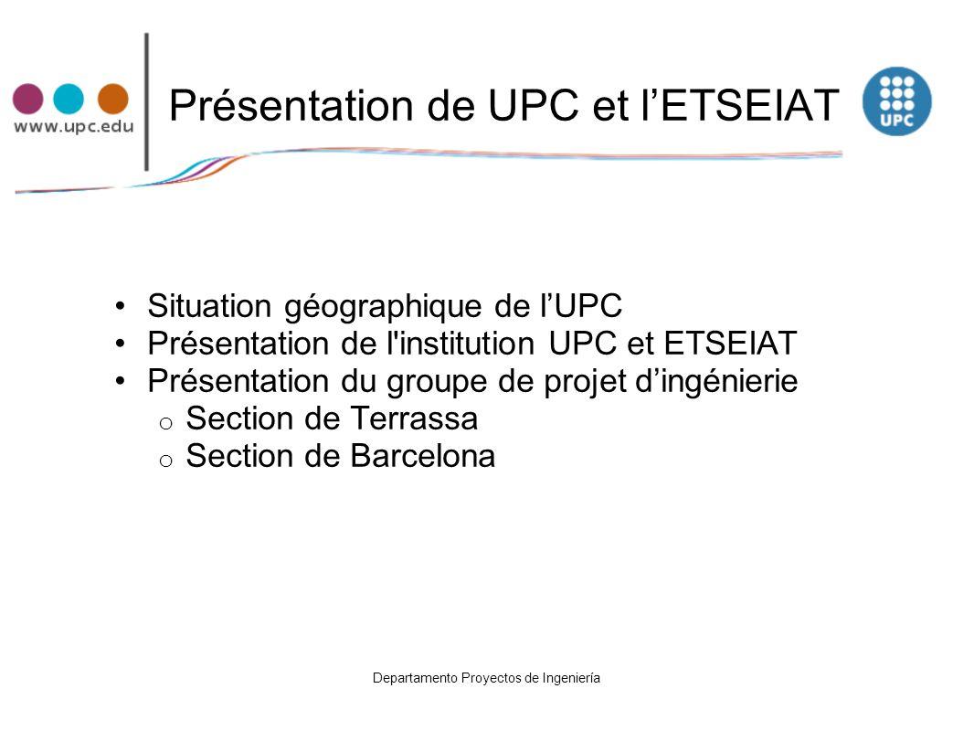 Les différentes écoles de l UPC Nous avons des Centres de Recherches et Écoles à : Barcelona Castelldefels Igualada Manresa Mataró Mollet del Vallès Sant Cugat del Vallès Terrassa (ETSEIAT +EUITIT) Vilanova i la Geltrú.