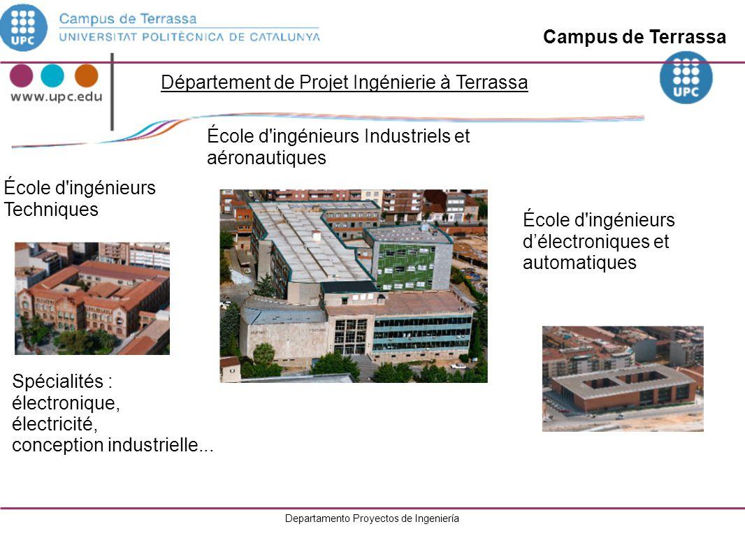 Departamento Proyectos de Ingeniería École d ingénieurs industriels Campus de Barcelona Centre de recherche