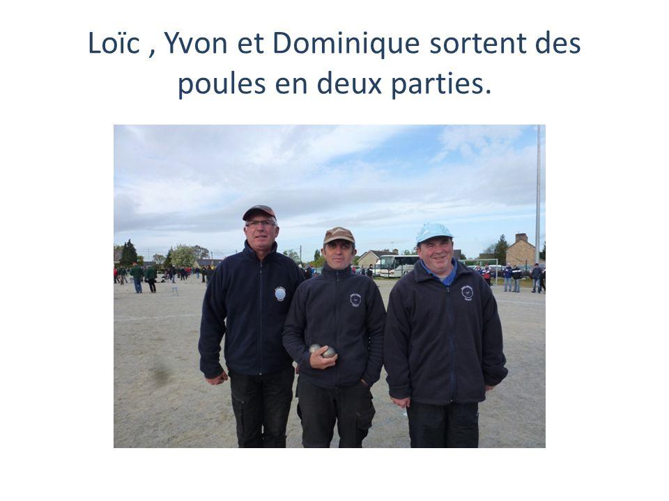 Loïc, Yvon et Dominique sortent des poules en deux parties.