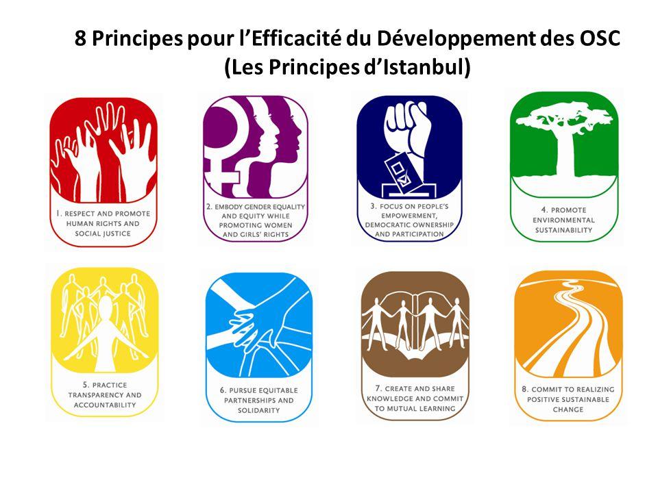 Valeurs et Principes Les membres du Partenariat des OSC adhèrent aux valeurs suivantes: le respect mutuel, l'égalité des genres, la responsabilité vis-à-vis des membres et collègues ainsi que la transparence dans toutes les actions et décisions.