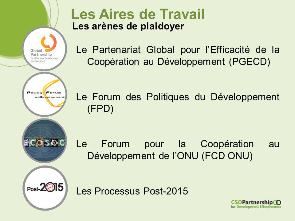 Les Aires de Travail Les arènes de plaidoyer Le Partenariat Global pour l'Efficacité de la Coopération au Développement (PGECD) Le Forum des Politiques du Développement (FPD) Le Forum pour la Coopération au Développement de l'ONU (FCD ONU) Les Processus Post-2015