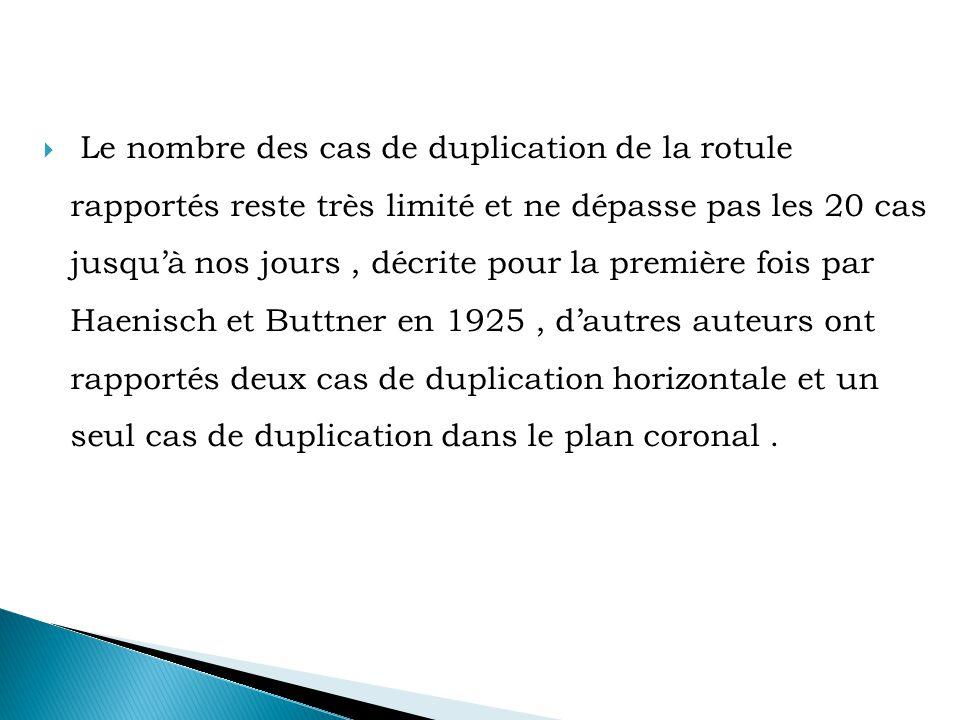  Le nombre des cas de duplication de la rotule rapportés reste très limité et ne dépasse pas les 20 cas jusqu'à nos jours, décrite pour la première fois par Haenisch et Buttner en 1925, d'autres auteurs ont rapportés deux cas de duplication horizontale et un seul cas de duplication dans le plan coronal.