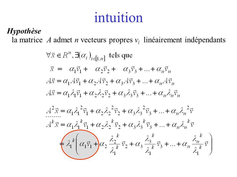 intuition la matrice A admet n vecteurs propres v i linéairement indépendants Hypothèse