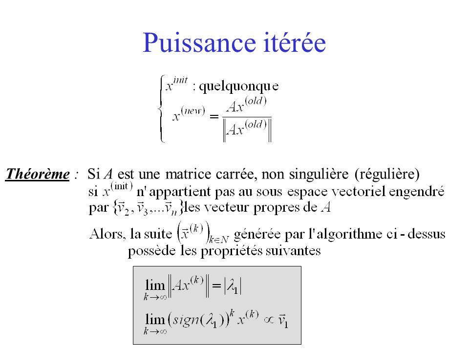 Puissance itérée Théorème : Si A est une matrice carrée, non singulière (régulière)